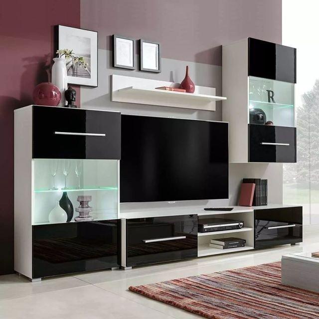 Ansamblu comodă TV de perete lucioasă cu iluminare LED 4 piese,alb cu us negre