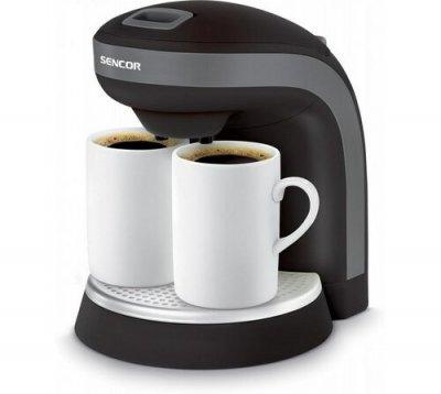 Aparat de cafea compact Sencor, negru, cu doua duze