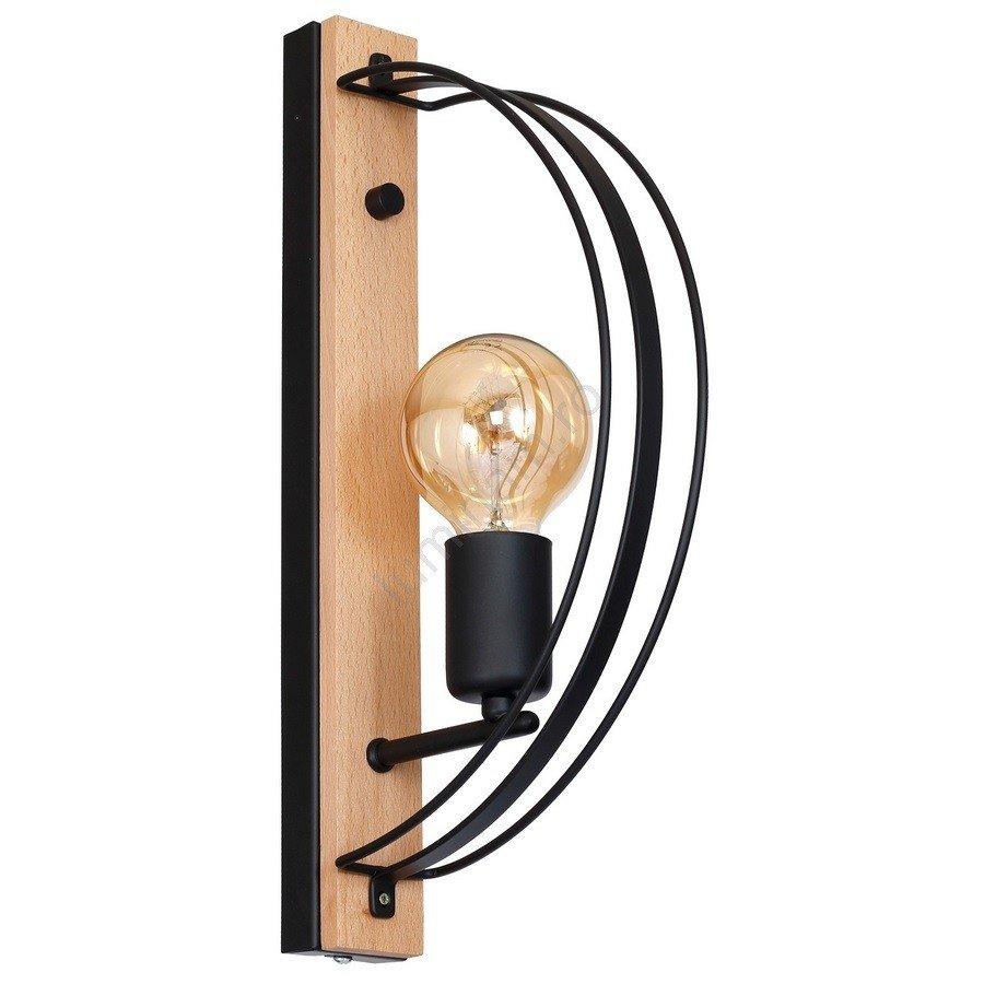 Aplică perete DALVIN, design industrual, suport din lemn si elemente metalice negre