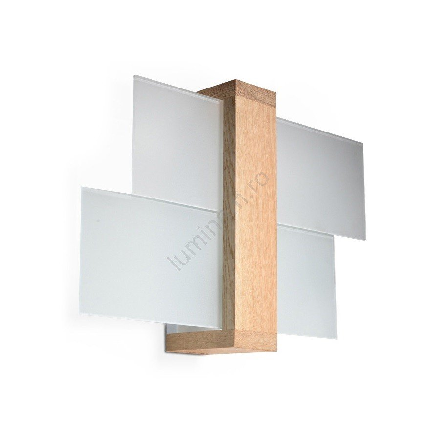 Aplică perete din lemn natural cu masca din sticla mata alba