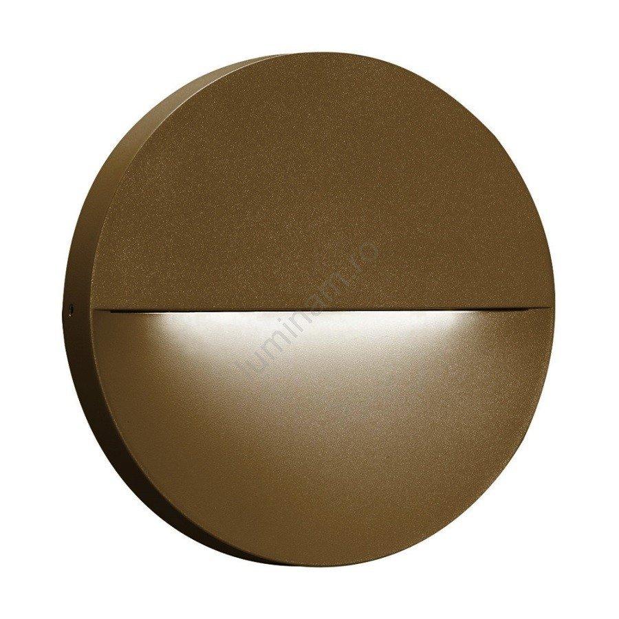 Aplică perete exterior LED ECLIPSE, design modern, forma circulara, metalica, maro