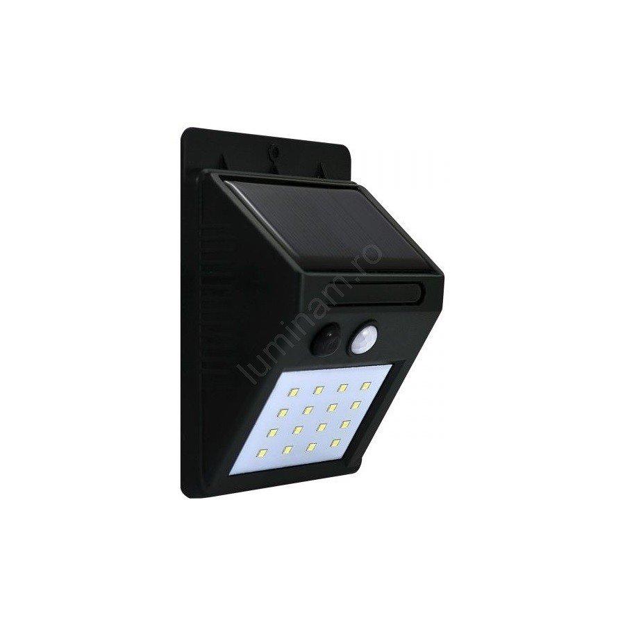 Aplica perete solara LED/2,2W, cu senzor de miscare, negru, din plastic