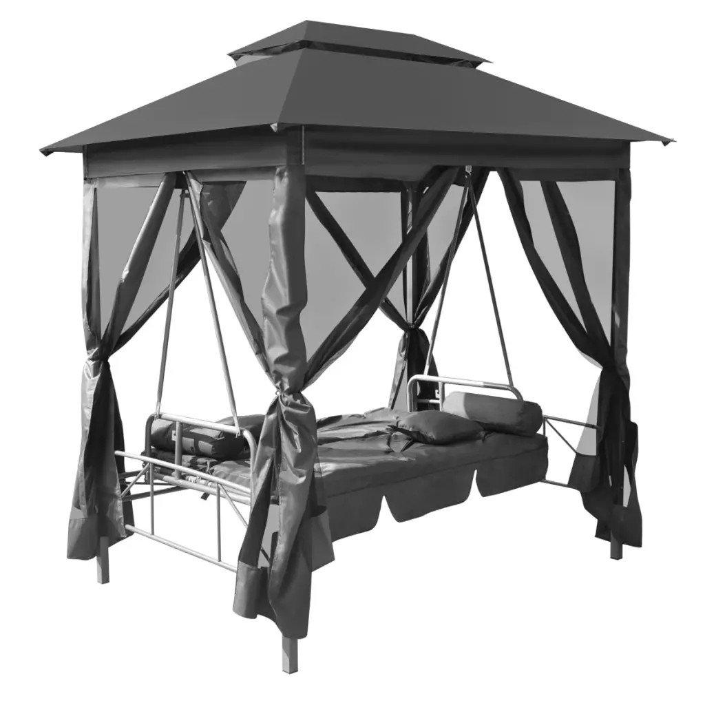 Balansoar de exterior cu baldachin antracit 220x160x240 cm oțel