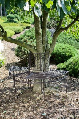 Banca metalica circulara, copac, gradina - Gri