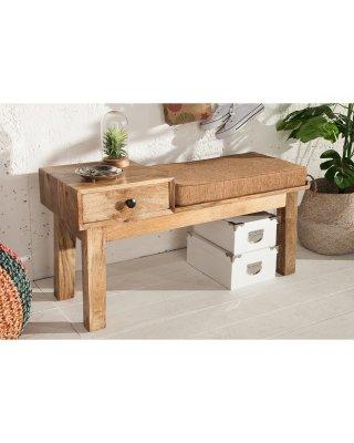 Bancheta cu sertar Butller, lemn mango si sezut tapitat