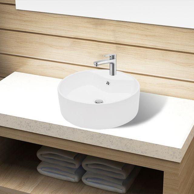 Bazin chiuvetă ceramică baie cu gaură robinet/preaplin, rotund, alb, deasupra blatului