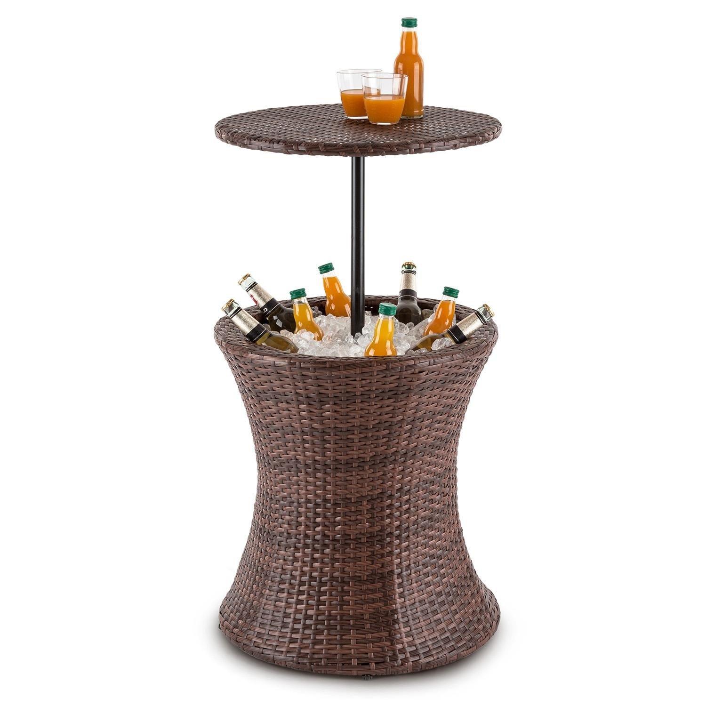 Beerboy ,masă de grădină rotunda,  răcitoare băutură ,50cm Polyrattan bicolor maro