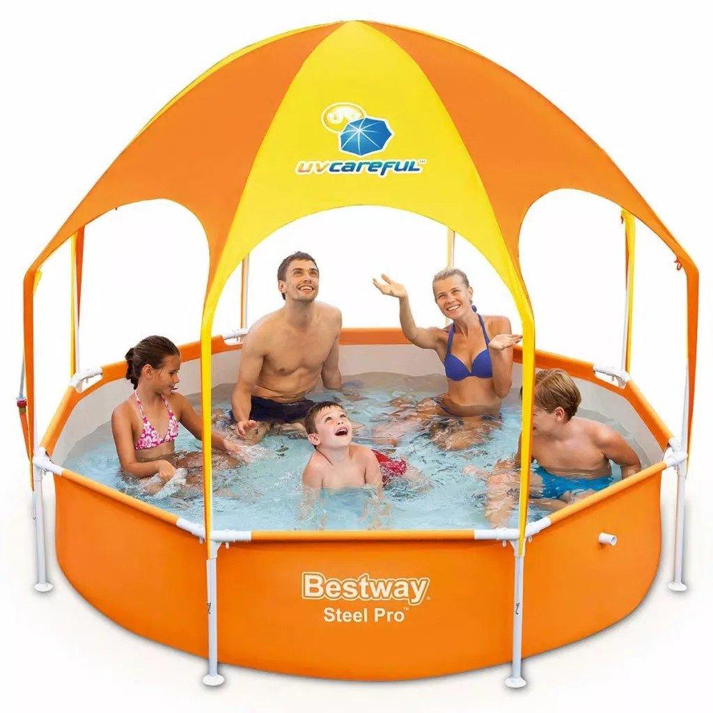 Bestway Piscină de joacă Splash-in-Shade, 244 x 51 cm, portocaliu, cu acoperis rezistent la radiatii UV