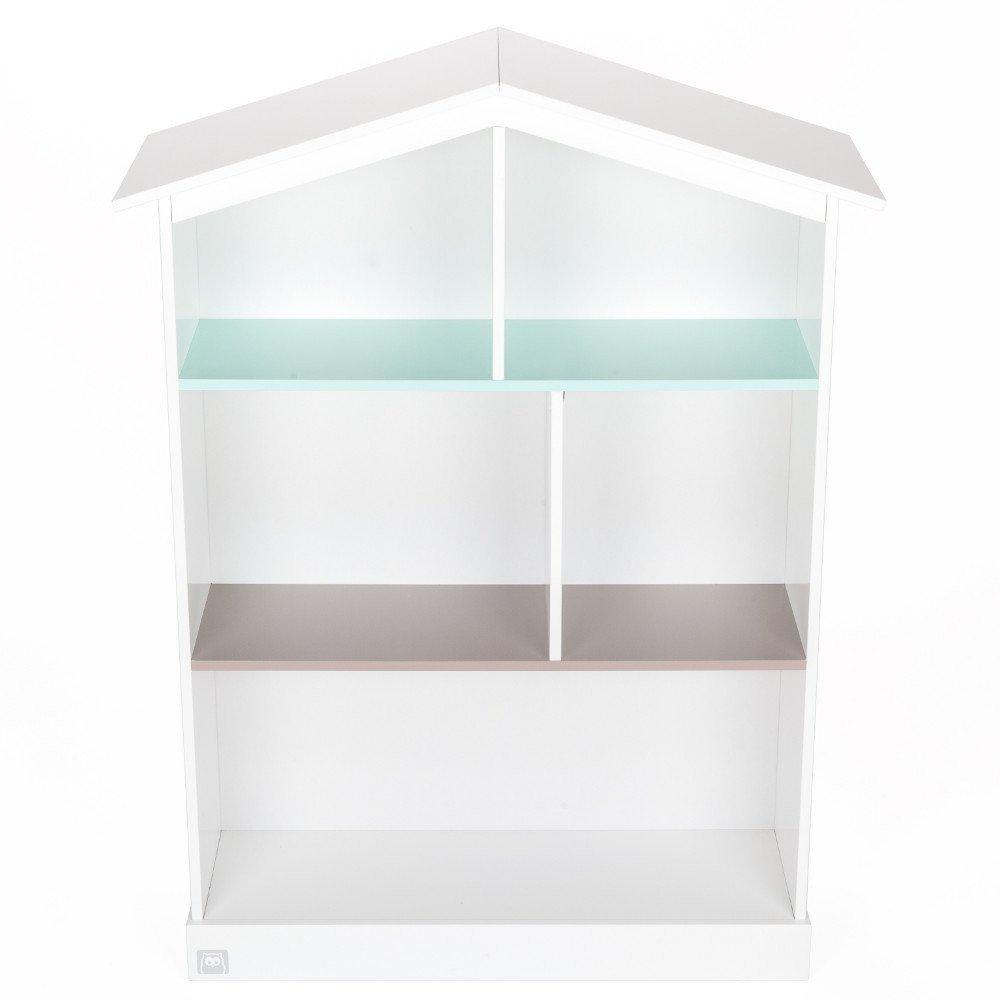 Biblioteca din lemn in forma de casuta, alba