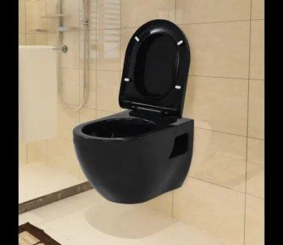 Vas de toaletă cu montare pe perete, ceramică, negru