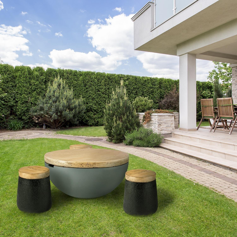 BLOCKHOUSE LOUNGE, masă de beton pentru grădină, 80x40 cm, rotunda, cu blat din lemn