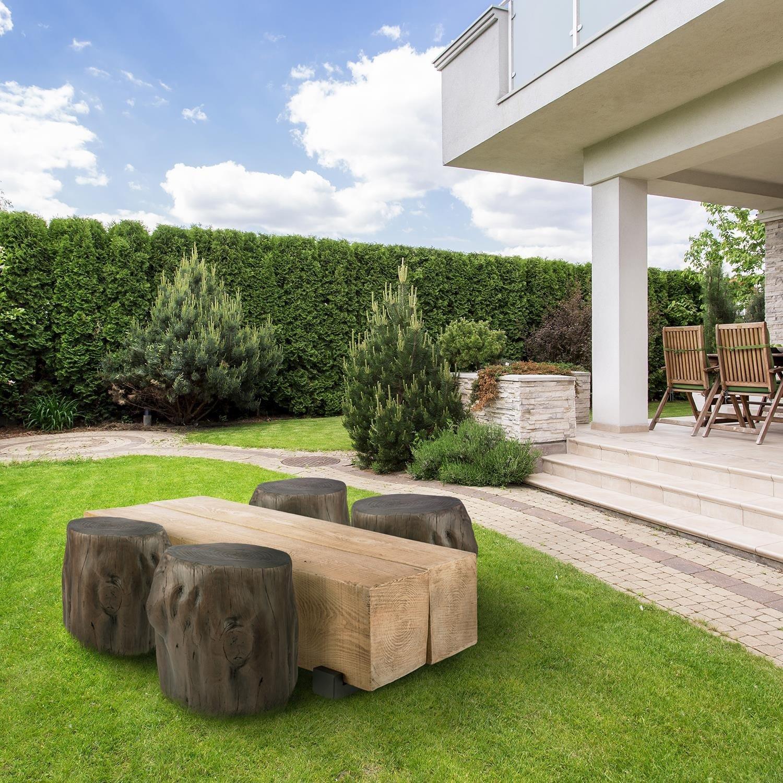 BLOCKHOUSE LOUNGE, masă tip grindă pentru grădină, 120x30x60 cm, lemn
