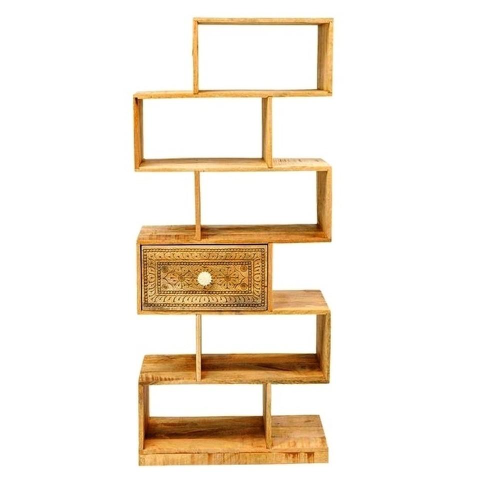 Bibliotecă din lemn de mango Massive Home Ella, înălțime 150 cm