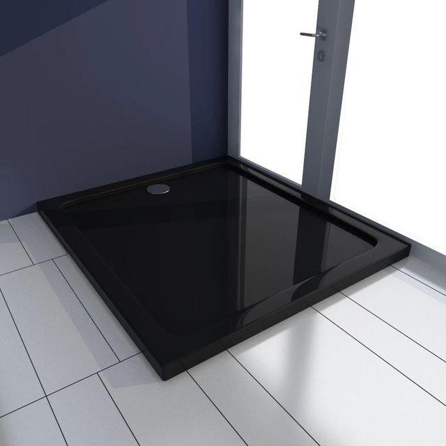 Cădiță de duș dreptunghiulară din ABS 80 x 90 cm, negru