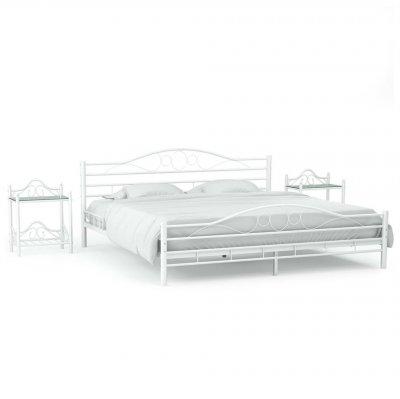 Cadru de pat cu 2 noptiere, alb, 180 x 200 cm, metal