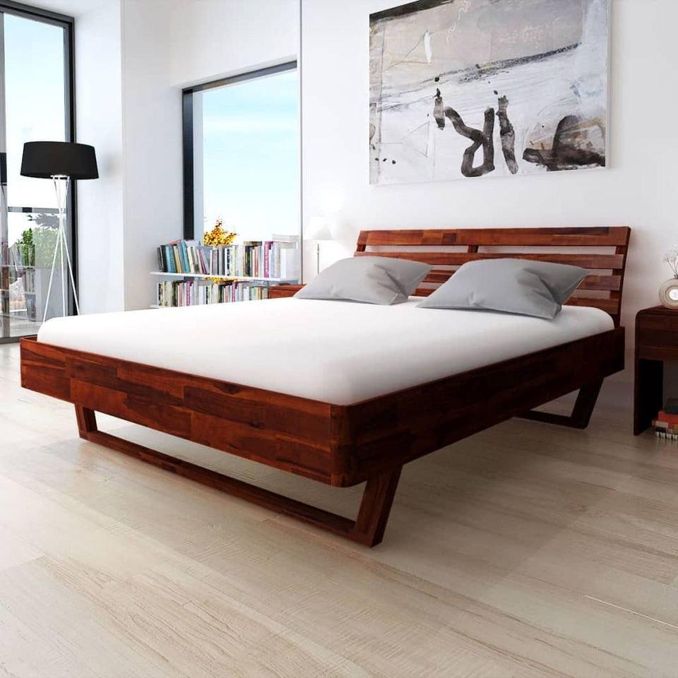 Cadru de pat cu 2 noptiere, lemn masiv de acacia, 180x200 cm