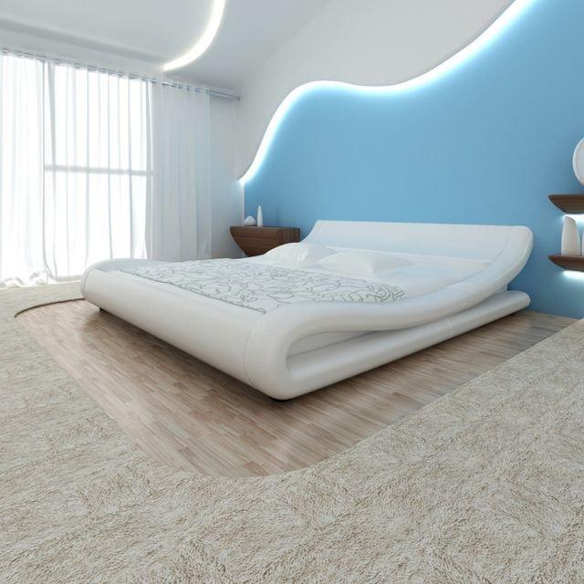 Cadru de pat ondulat, piele artificială, 140 x 200 cm, alb
