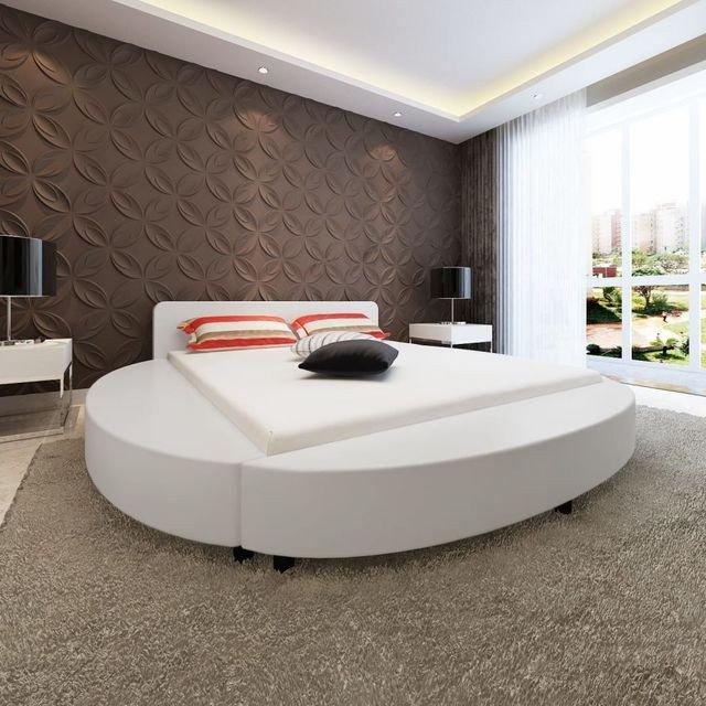 Cadru de pat rotund din piele artificială 180 x 200 cm, alb