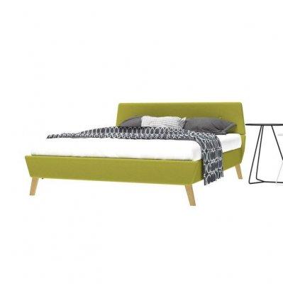 Cadru pat, bază șipci, material textil, 140 x 200 cm, verde