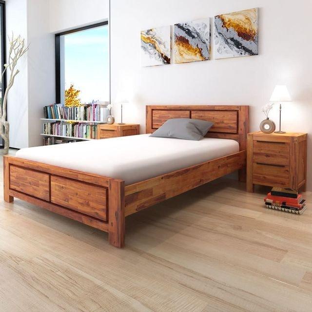 Cadru pat cu dulapuri, lemn masiv de acacia 180 x 200 cm, maro