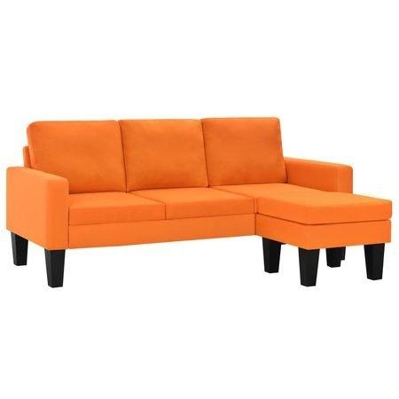 Canapea 3 locuri, cu taburet, material textil, portocaliu