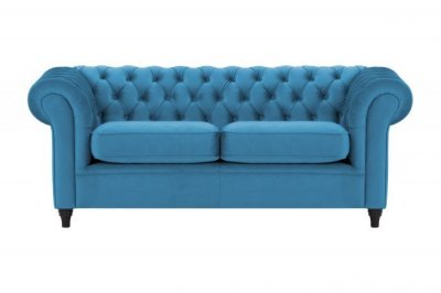 Canapea Chesterfield, 3 Locuri, Albastru, catifea