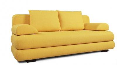 Canapea cu 3 locuri extensibila cu lada Romantica, galbena, stofa