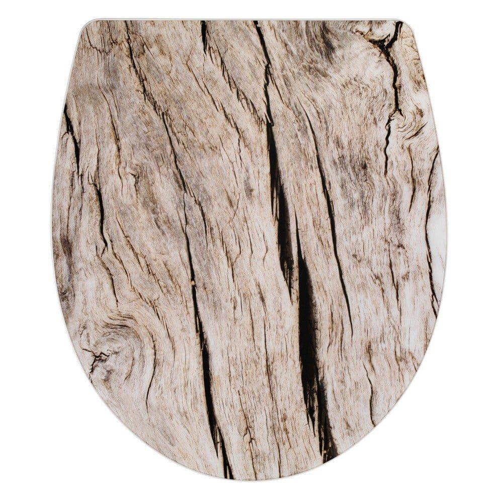Capac WC cu închidere lentă Wenko Bois, 45 x 38,8 cm, imprimeu lemn, plastic/acril