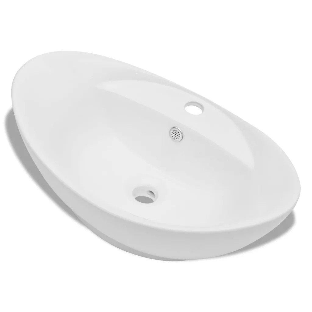 Chiuvetă din ceramică ovală cu preaplin și gaură robinet