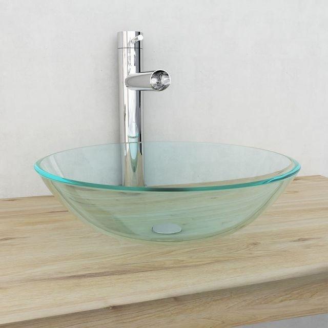 Chiuvetă din sticlă călită transparentă, 42 cm, ovala