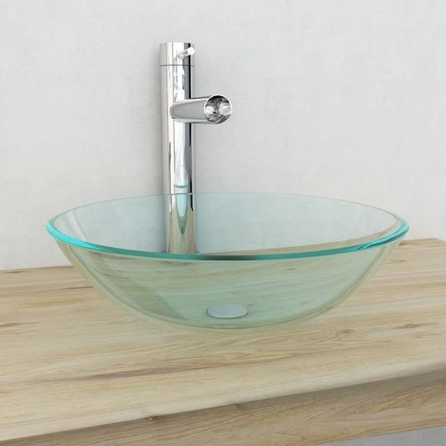 Chiuvetă din sticlă călită transparentă, securizata,  42 cm