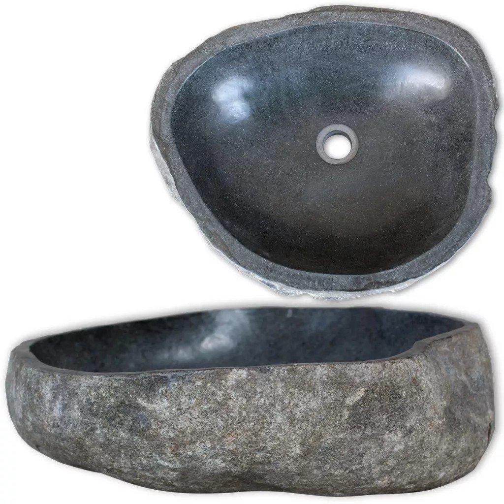 Chiuvetă ovală din piatră de râu, 46-52 cm