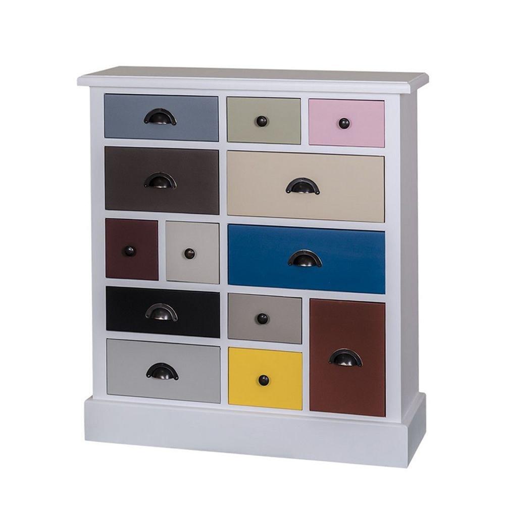 Comoda 13S Odette, P004, alba cu sertare colorate
