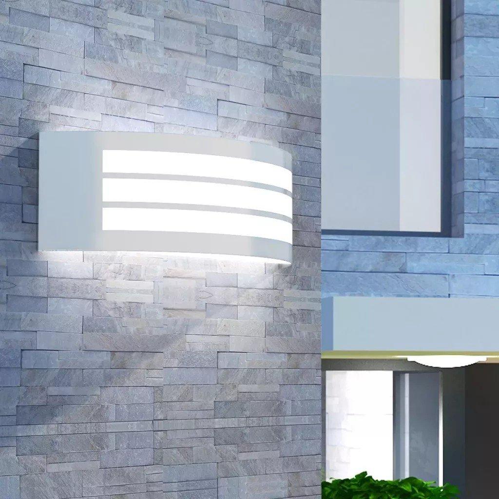 Corp de iluminat exterior de perete, oțel inoxidabil, forma de arc