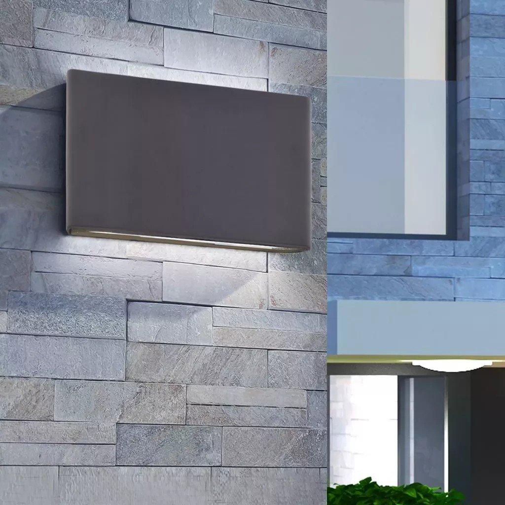 Corp de iluminat exterior sus/jos pentru perete 12 W, Negru, aluminiu turnat
