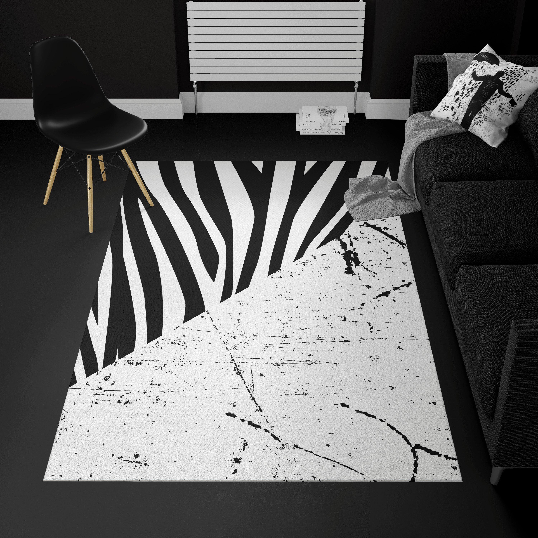 Covor alb-negru din catifea, design modern, fir scurt, antiderapant