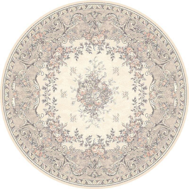 Covor Dafne Alabaster Round, Wilton, stil clasic, bej