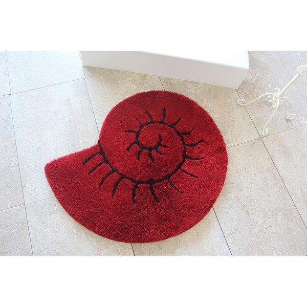 Covor de baie Celine, roșu, in forma de scoica, antiderapant, antibacterian