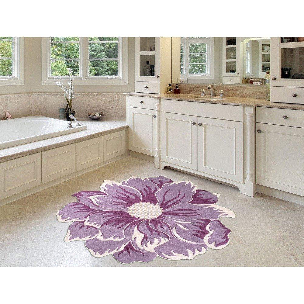 Covor de baie in forma de floare violet Vitaus Saroga, 80 cm, anti-derapant
