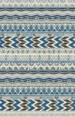 Covor Ethnic Et 020 E Blue, tesut mecanic, albastru, fir scurt, imprimeu geometric
