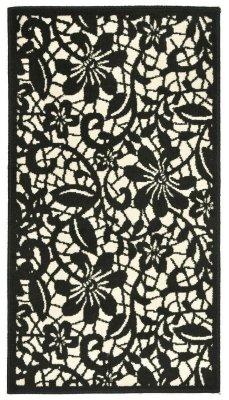 Covor Floral Draco, alb-negru 80x150, fir scurt