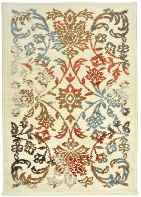 Covor Floral Monnie, Multicolor 67x120, bej cu imprimeu floral, fir scurt