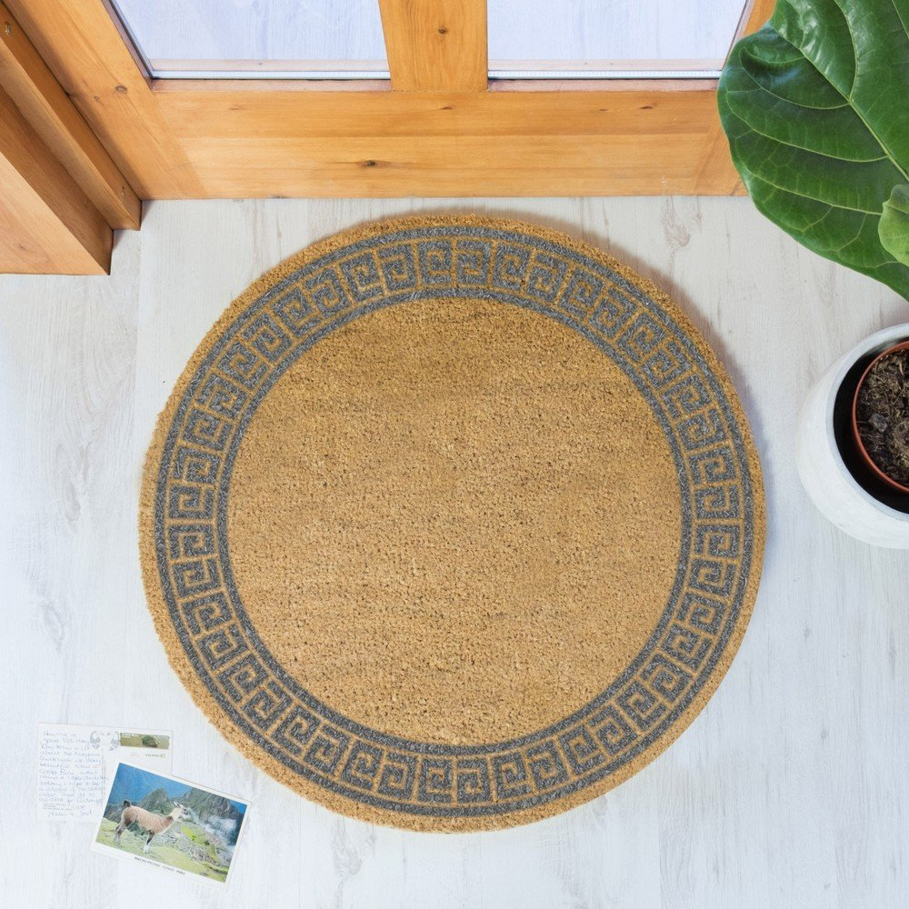 Covor intrare rotund Artsy Doormats Grey Greek Border,  70 cm, din fibre de cocos