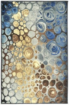 Covor modern, Geometric Grady, multicolor 67x120, maro-albastru