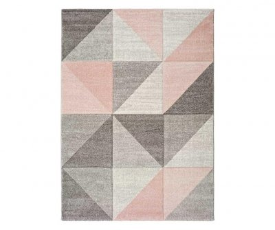 Covor Naia Pink 80x150 cm, impriemu geometric, roz-gri, design modern