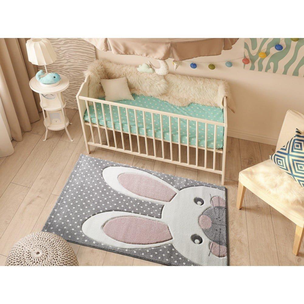 Covor pentru copii Universal Kinder Bunny, 120 x 170 cm, gri, iuta