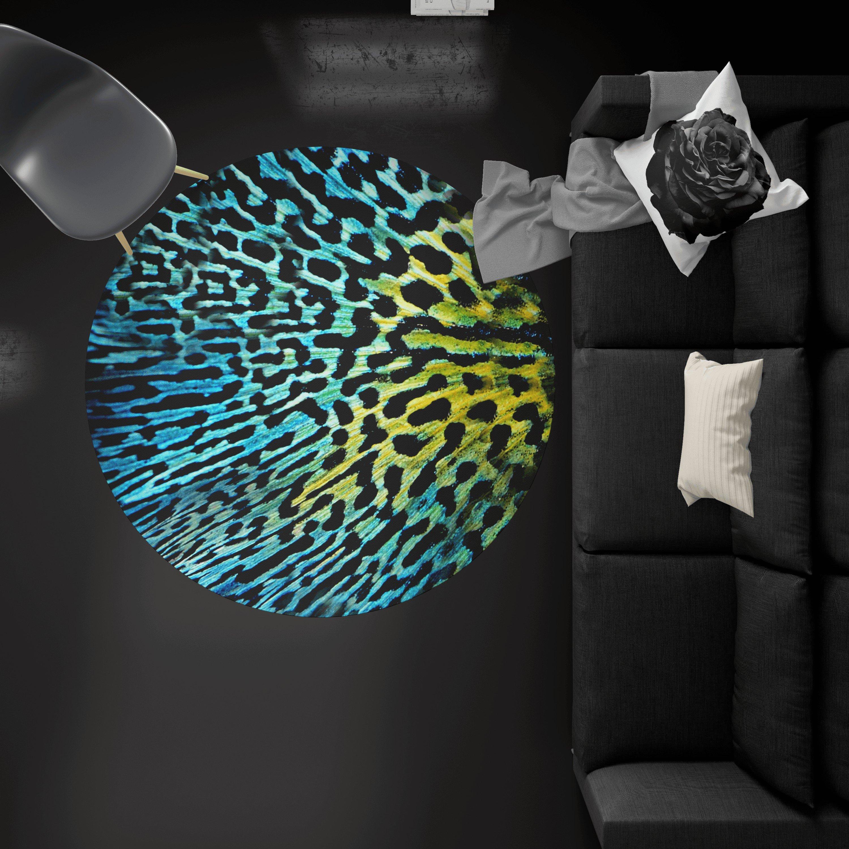 Covor rotund animal print, galben-albastru, din catifea, antiderapant