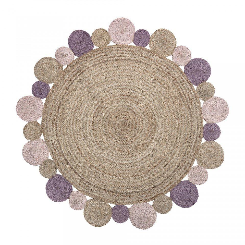 Covor rotund maro din iuta cu margini roz 120 cm Blue Bloomingville