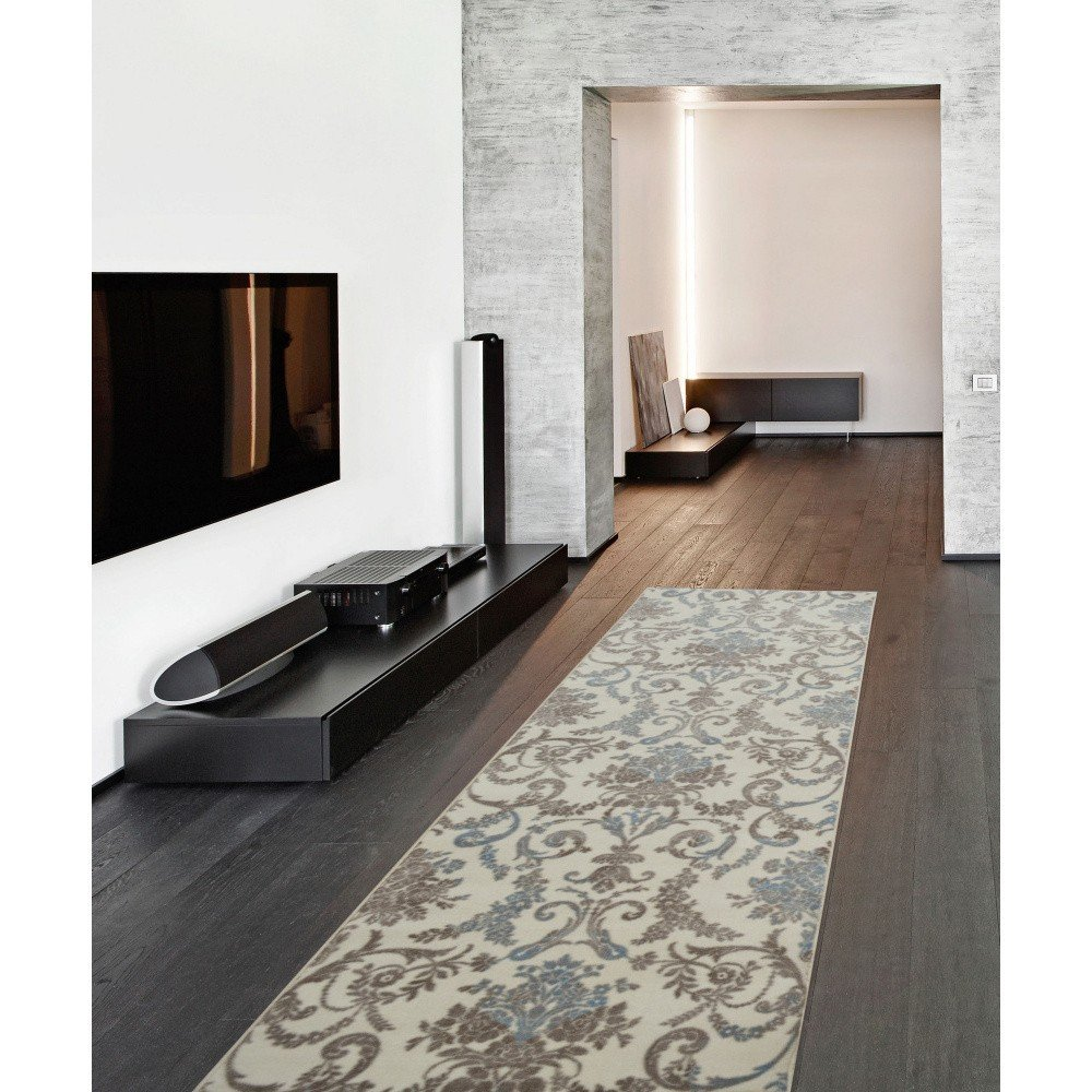 Covor Rungo Delta, 150 x 350 cm, bej cu imprimeu floral, fir scurt