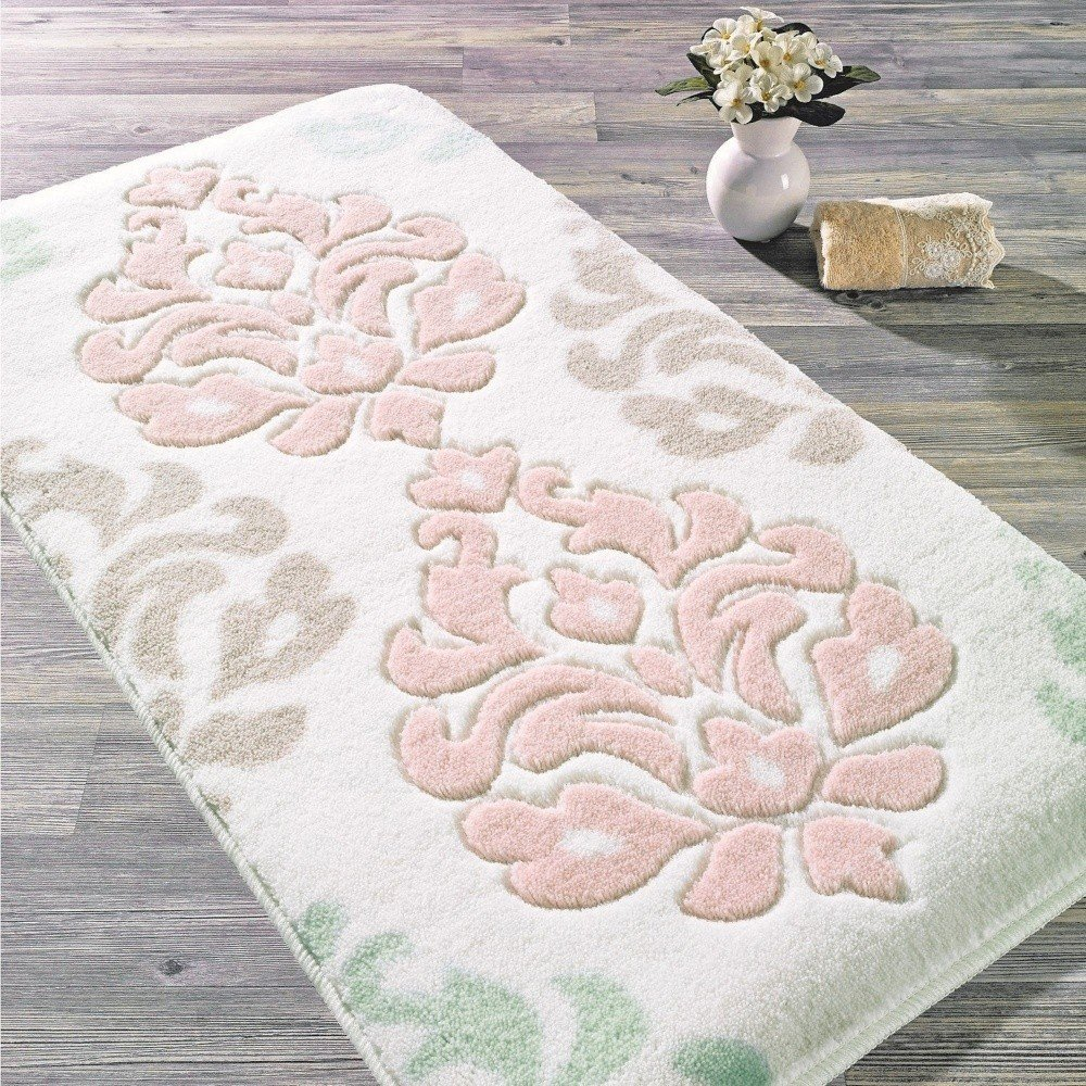 Covoraș de baie Confetti BathmatsDamask, 57 x 100 cm, alb-roz, strat anti-derapant